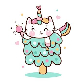 Vector lindo gato unicornio en árbol de navidad