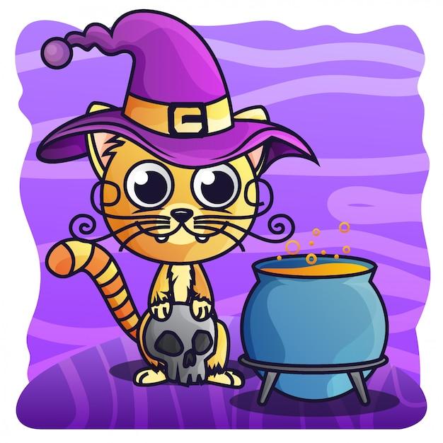 Vector lindo de la ilustración del gradiente de halloween del gato