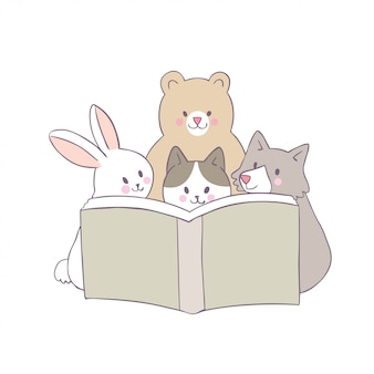Vector lindo del libro de lectura del gato y del conejo y del perro y del oso de la historieta.