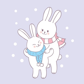 Vector lindo de la mamá y del bebé del conejo de la historieta.