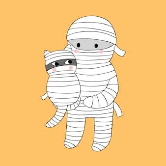 Vector lindo de la momia y del gato de halloween de la historieta.
