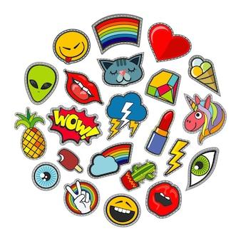 Vector lindo parches iconos en diseño de círculo