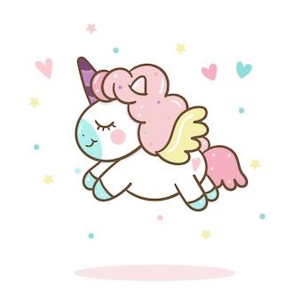 Vector lindo del unicornio con color en colores pastel