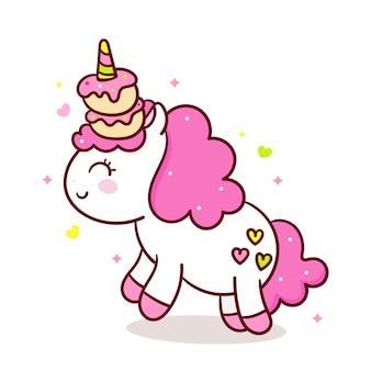 Vector lindo unicornio con cupcake en cuerno