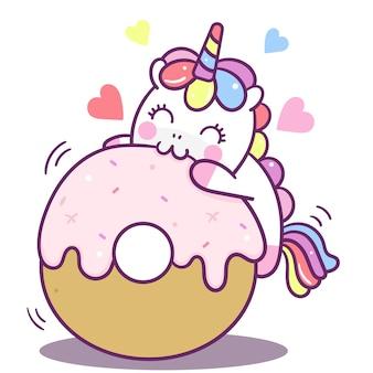 Vector lindo unicornio delicioso donut