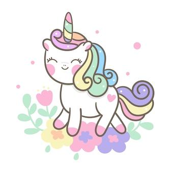 Vector lindo unicornio con dibujos animados de flores