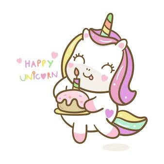 Vector lindo unicornio con estilo dibujado a mano pastel