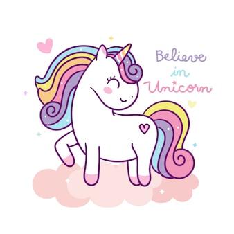 Vector lindo unicornio en nube pastel