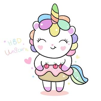 Vector lindo unicornio con pastel de cumpleaños