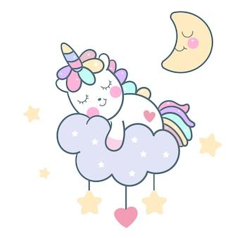 Vector lindo del unicornio que duerme en la nube en colores pastel