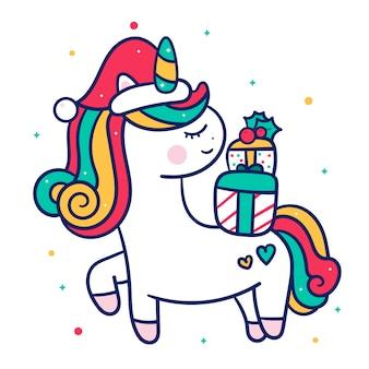 Vector lindo unicornio con regalos