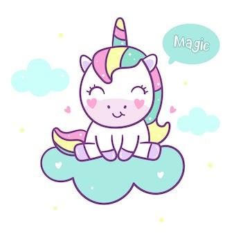 Vector lindo unicornio sentarse en la nube