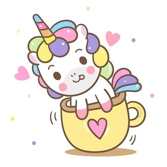 Vector lindo del unicornio en taza