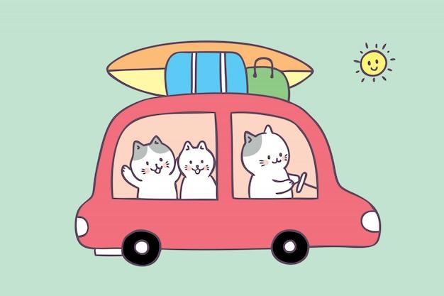 Vector lindo del viaje del gato de familia del verano de la historieta.