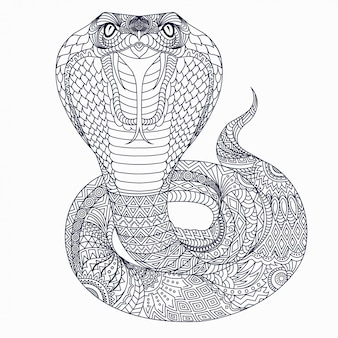 Vector de línea cobra zentangle