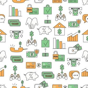 Vector de línea fina arte productos bancarios de patrones sin fisuras