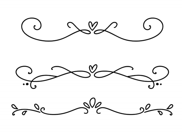 Vector línea vintage elegantes separadores y separadores de san valentín, remolinos y esquinas adornos decorativos. líneas florales filigrana