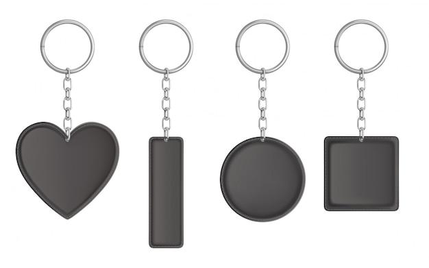 Vector llavero de cuero negro, soporte para llave