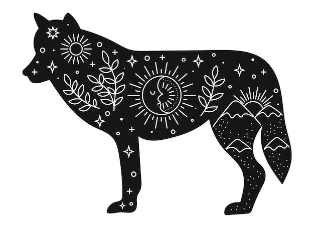 Vector lobo dibujado a mano con elementos boho para la decoración. clipart bohemio. animal del bosque