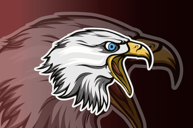Vector de logo de águila cabeza e deporte