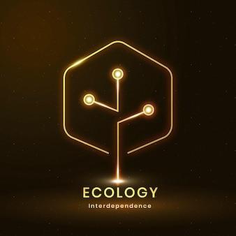 Vector logo ambiental con texto de ecología