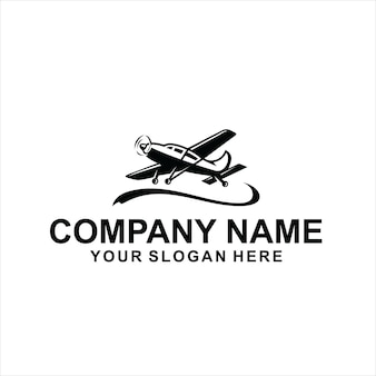 Vector logo de avión negro