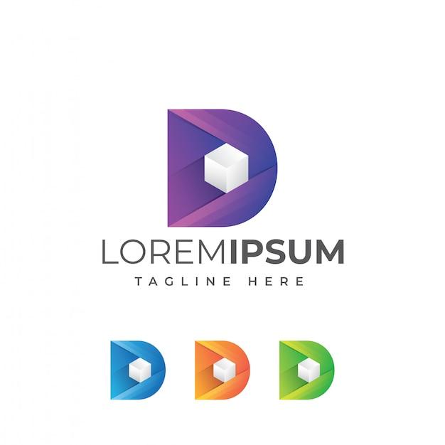 Vector de logo de caja de cubo de letra d