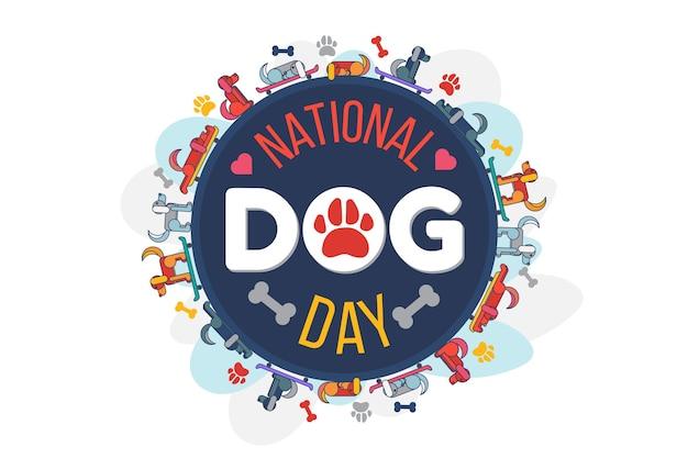 Vector de logo de celebración de fiesta nacional del día del perro. linda mascota tendida y montada en patineta, pata de perro y hueso, corazón decorado con logotipo. ilustración de dibujos animados plana de evento de festival de animales domésticos