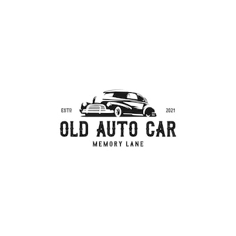 Vector de logo de coche auto antiguo