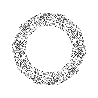 Vector logo corona de flores floral redondo. monograma de elemento vintage