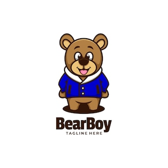 Vector logo illustration bear boy simple mascot style.