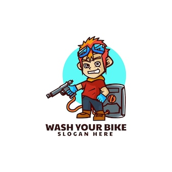 Vector logo illustration bike wash mascot estilo de dibujos animados.