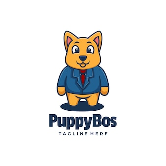 Vector logo illustration puppy boss estilo simple mascota.