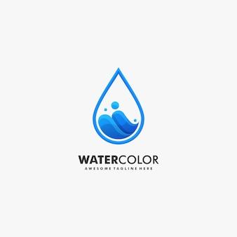 Vector logo ilustración agua gradiente estilo colorido.