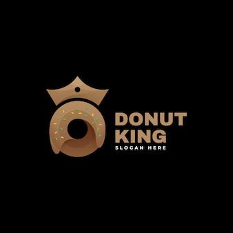 Vector logo ilustración donut rey estilo colorido degradado