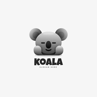 Vector logo ilustración estilo colorido degradado koala