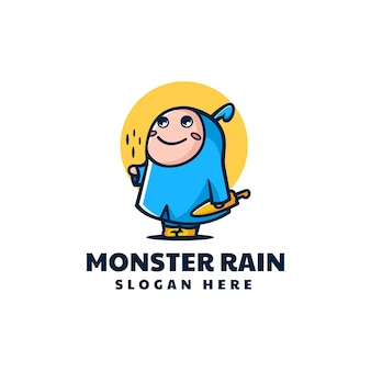 Vector logo ilustración monstruo lluvia mascota estilo dibujos animados