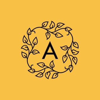 Vector logo initial a tipografía versión de hoja
