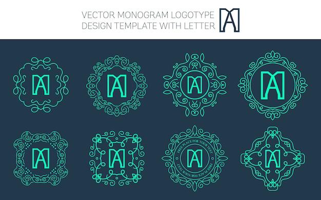 Vector logo monograma vintage.
