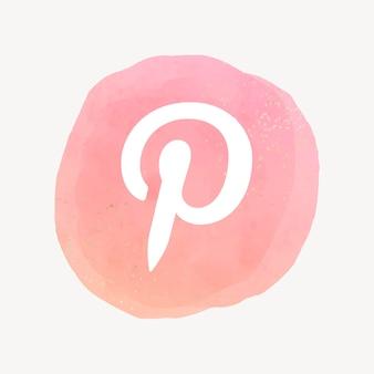 Vector logo de pinterest en diseño de acuarela. icono de redes sociales. 21 de julio de 2021 - bangkok, tailandia