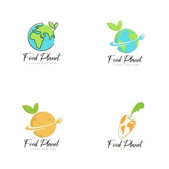 Vector de logo de planeta de comida