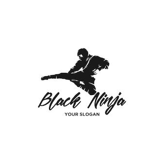 Vector de logo de silueta de ninja negro