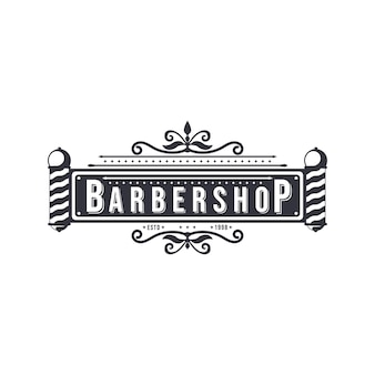Vector logo vintage barber shop con rostro de caballero aislado sobre fondo blanco