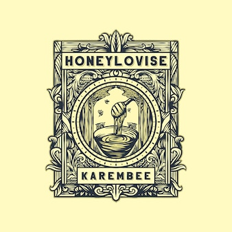 Vector logo vintage de miel