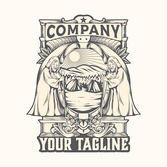 Vector de logo vintage de viaje de brujas de ilustración