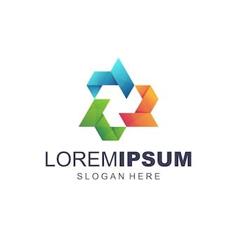 Vector de logotipo abstracto digital de medios