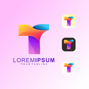 Vector de logotipo abstracto letra t premium