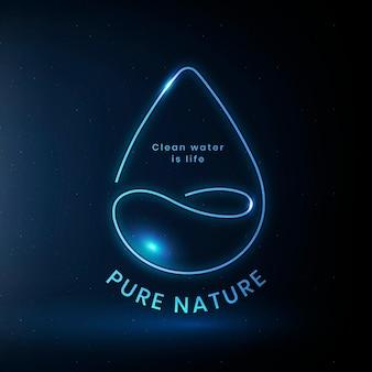 Vector de logotipo ambiental de agua con texto de naturaleza pura