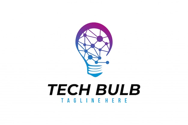 Vector de logotipo de bombilla tecnología aislado