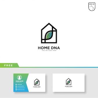 Vector de logotipo de la casa de adn y plantilla de tarjeta de visita